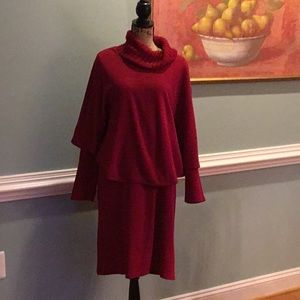 Red Knit Dress With Cape